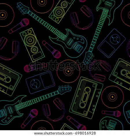 Seamless Flutter Pattern Background Musical Instruments
