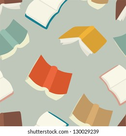 Seamless flying books pattern.