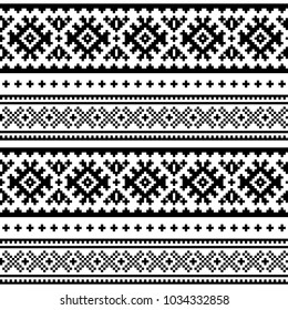 Seamless folk art pattern, Lapland traditional design, Sami vector seamless background Scandinavian, Nordic wallpaper Retro black and white winter belt patterns from Norway, Sweden, Finland, and the