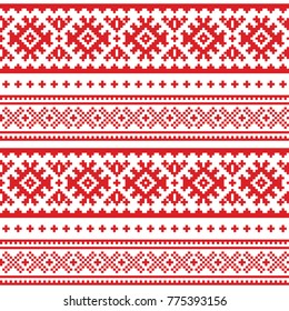 Seamless folk art pattern, Lapland traditional design, Sami vector seamless background Scandinavian, Nordic wallpaper.  Retro winter belt patterns from Norway, Sweden, Finland, and the Murmansk Oblast