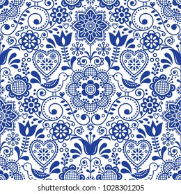 Seamless folk art vector pattern with birds and flowers, Scandinavian navy blue repetitive floral design.  Retro style navy blue ornament, Scandi endless background perfect for textile design, wallpap