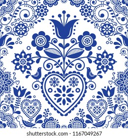 Seamless folk art vector pattern with birds and flowers, Scandinavian or Nordic navy blue repetitive floral design. Retro style navy blue ornament, Scandi endless background perfect for textile design