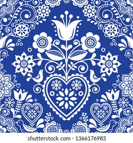 Seamless folk art vector pattern with birds and flowers, Scandinavian or Nordic in navy blue and white repetitive floral design.  Retro style indigo ornament, Scandi endless background