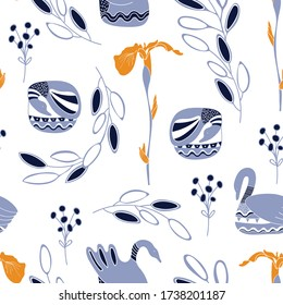 Seamless Folk Art Vector pattern with ducks and flowers for decoration, print, textile, fabric, stationery