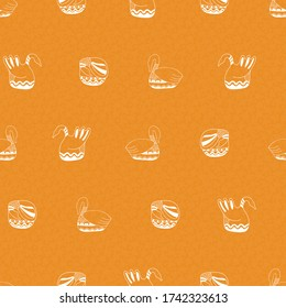 Seamless folk art vector pattern with ducks and an orange background for decoration, print, textile, fabric, stationery, wallpaper