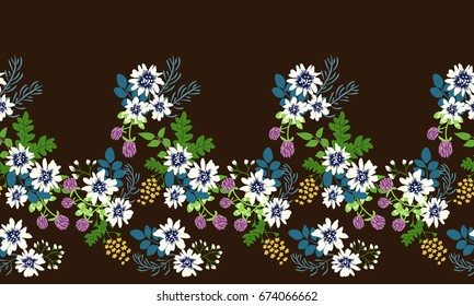 Seamless folk border in small wild flowers. Country style millefleurs. Floral cuban background for textile, wallpaper, pattern fills, covers, surface, print, gift wrap, scrapbooking, decoupage.