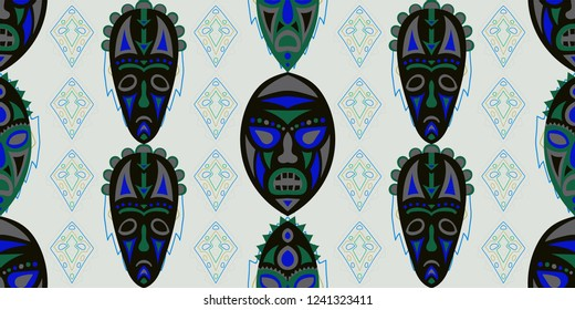Seamless Folk Pattern. Ethnic Seamless Background with Color Trible Shamanic Masks for Linen, Paper, Tablecloth. Retro Folk