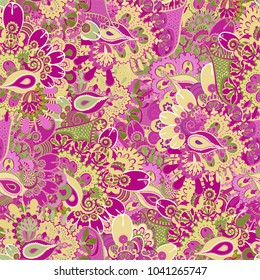 Seamless folk pattern with fantasy plants, flowers. Modern ethnic abstract design for paper, cover, fabric, textile, embroidery, interior decor and other users.