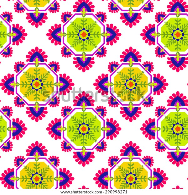 seamless folk pattern, floral detailed decorations, diamond rhombus shape, pop colors. Latin Spanish ceramics style. ethnic print for fashion or interior.