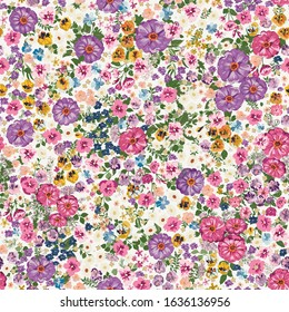 Seamless folk pattern in small wild flowers. Country style millefleurs. Floral meadow background for textile, wallpaper, pattern fills, covers, surface, print, gift wrap, scrapbooking, decoupage