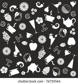 seamless food pattern. black ornament vector