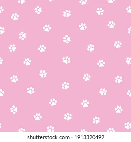 seamless footprints pattern. cute white animal tracks, pink background. Vector texture. Fashionable print for textiles, wallpaper.