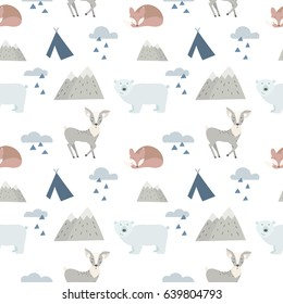 Seamless forest animals background with cute deer, bear and fox. Cartoon style.