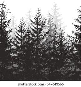 Seamless forest border. Vector illustration