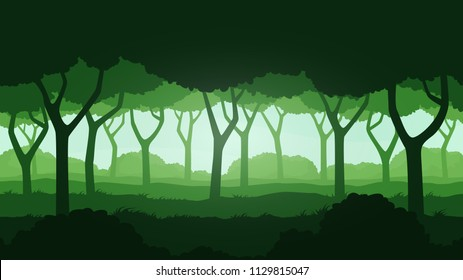 Seamless forest landscape. Beautiful high quality unending background. Layered for parallax effect. For 2d game. Simple cartoon design. With trees. bushes, grass. Flat style vector illustration.