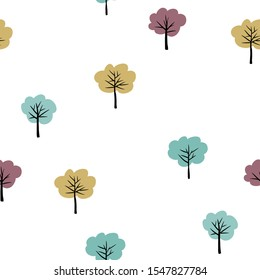 Seamless forest pattern with cute trees
