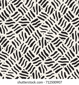Seamless freehand pattern. Vector abstract rough lines background. Hand drawn grungy strokes.
