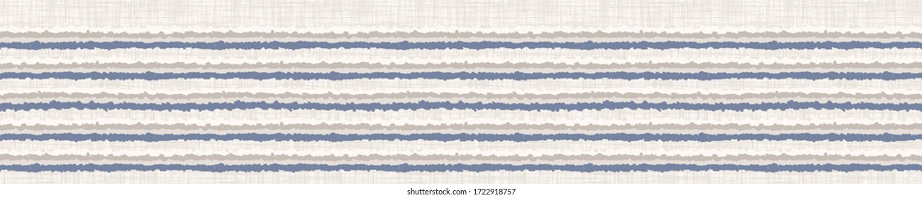 Seamless french farmhouse broken stripe border pattern. Provence striped linen shabby chic style. Hand drawn rustic textured line.  Home deco linear banner. Vintage scandi ribbon trim edging tape.