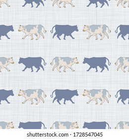 Seamless french farmhouse cow silhouette pattern. Farmhouse linen shabby chic style. Hand drawn rustic texture background. Country farm kitchen design.