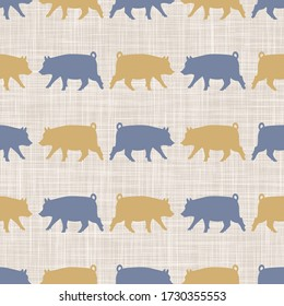 Seamless french farmhouse pig silhouette pattern. Farmhouse linen shabby chic style. Hand drawn rustic texture background. Country farm kitchen design. Pork meat cut textile all over print
