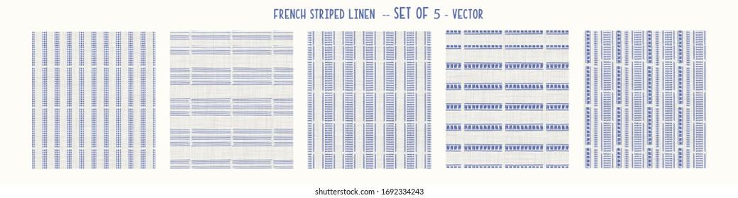 Seamless french farmhouse style woven linen stripe texture. Ecru flax blue hemp fiber. Natural pattern background. Organic yarn closeup weave fabric for kitchen towel material. Striped set of 5