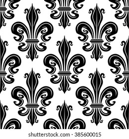 Seamless french royal lilies black and white floral pattern of ornamental fleur-de-lis elements. Use as vintage wallpaper, fabric or interior accessories design
