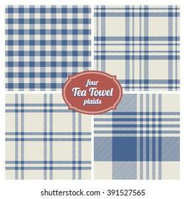 Seamless French Tea Towel Plaids, Set of 4