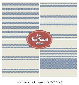 Seamless French Tea Towel Stripes, Set of 4