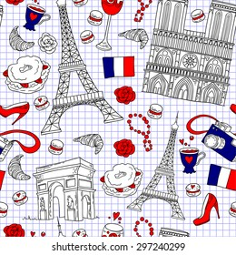 Seamless french travel pattern. Paris tourist background with architecture buildings and landmarks.