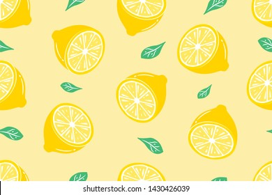 Seamless Fresh lemon fruit summer Pop art slices and green leaves. Beautiful yellow pastel colour design elements, perfect for prints, wallpaper and background - Vector