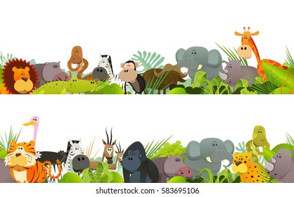 Seamless Frieze With Wild African Animals/ Seamless frieze with cute cartoon wild animals, including  lion, gorilla,elephant, giraffe, for children bedroom wallpapers and print merchandising