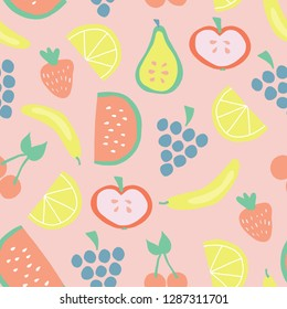Seamless fruit pattern with bananas apples pear grapes lemons cherries strawberries watermelon on pink background. Juicy summer fruit cute vector design. Food illustration flat simple Scandinavian art
