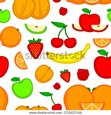 seamless fruit pattern editable filled fruits stock vector royalty