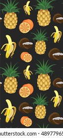 Seamless fruit tropical pattern with pineapple, banana, citrus and coconut on black background.Cute fruits illustration.