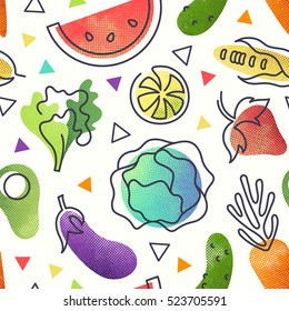 Seamless fruit and vegetables vegetarian food pattern, vector vegan bright color background