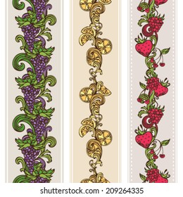 Seamless fruits borders. Vertical borders for your design. Grape, raspberry, cherry, orange and strawberry.
