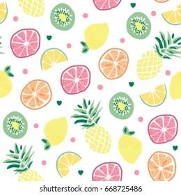 seamless fruits pattern, pineapple orange kiwi lemon grapefruit seamless pattern, wrapping paper, vector textile fabric print, fruits vector illustration
