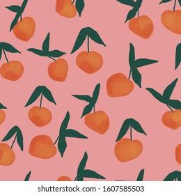 Seamless fruits pattern. Vector peach pattern on pink background. Peach vector pattern. Vectorn seamless peach background.