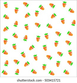 Seamless fruits raster pattern, symmetrical background with carots on the white background