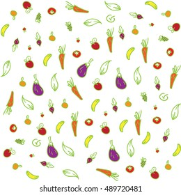 Seamless fruits vegetables background colored