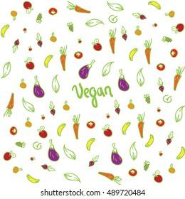 Seamless fruits vegetables background colored vegan sign