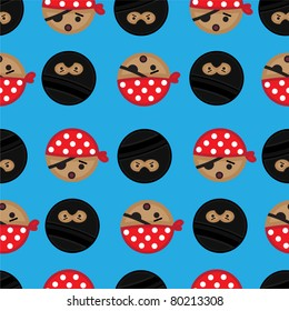 A seamless and fully repeatable tile background of ninja and pirate cartoon heads.