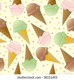 Seamless and fully repeatable tiled background with three different flavours of Ice Cream and dots