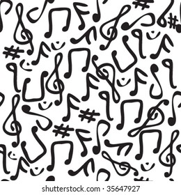 Seamless and fully repeatable vector pattern with various music symbols
