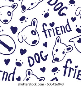 Seamless funny dark blue vector pattern with cute dogs, bones and hearts on white background in cartoon style