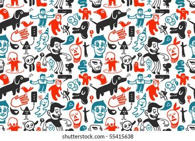 Seamless funny doodles pattern. Vector illustration.