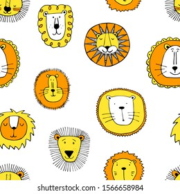 Seamless funny lions drawing. Print for t-shirt textile graphic design. Collection cute lions illustration for kids.