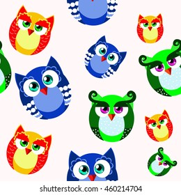 Seamless with funny owls in cartoon style. It can be used for children's products
