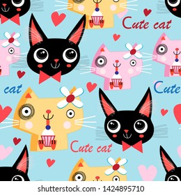 Seamless funny pattern of cats in love on a background with hearts