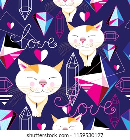 Seamless funny pattern of enamored cats on a blue background